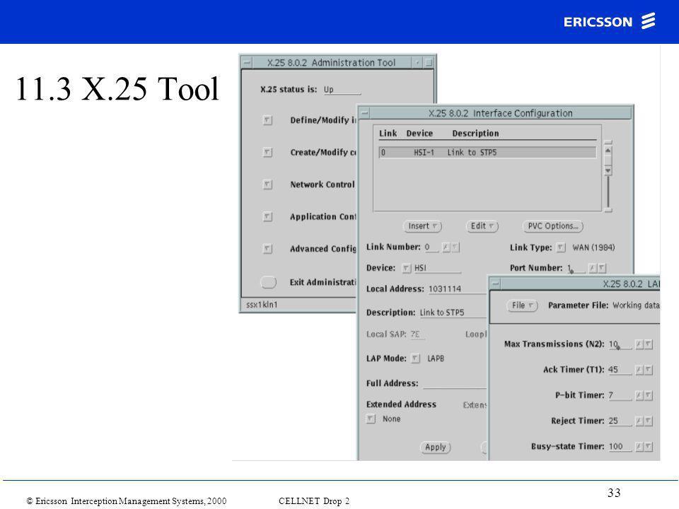 © Ericsson Interception Management Systems, 2000 CELLNET Drop 2 33 11.3 X.25 Tool