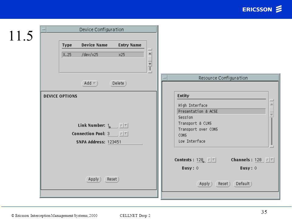 © Ericsson Interception Management Systems, 2000 CELLNET Drop 2 35 11.5