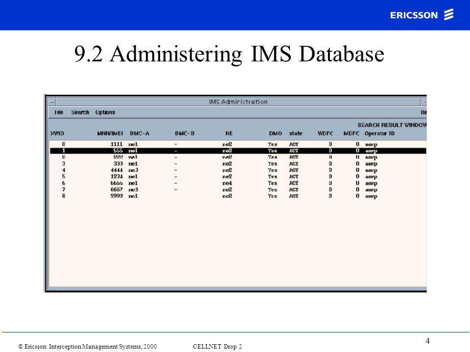 © Ericsson Interception Management Systems, 2000 CELLNET Drop 2 4 9.2 Administering IMS Database