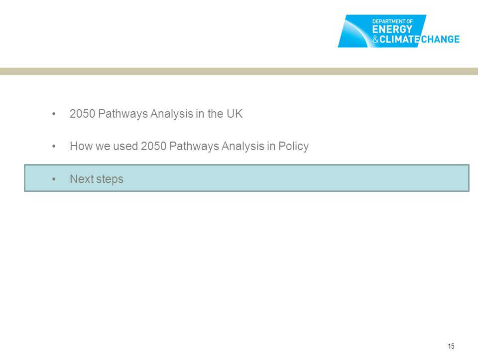 2050 Pathways Analysis in the UK How we used 2050 Pathways Analysis in Policy Next steps 15