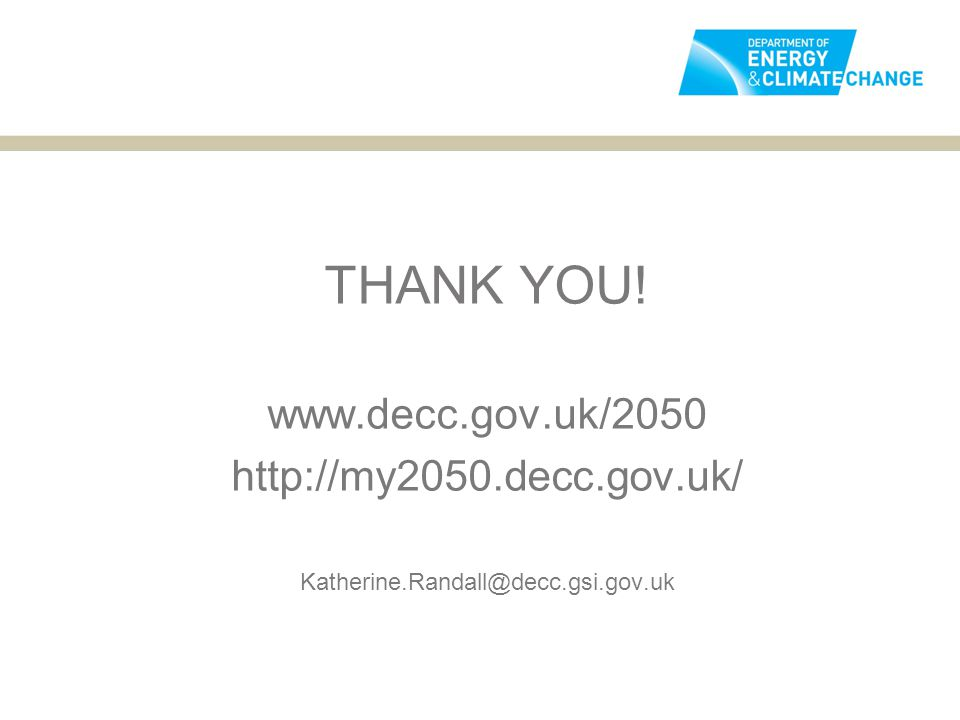 THANK YOU! www.decc.gov.uk/2050 http://my2050.decc.gov.uk/ Katherine.Randall@decc.gsi.gov.uk