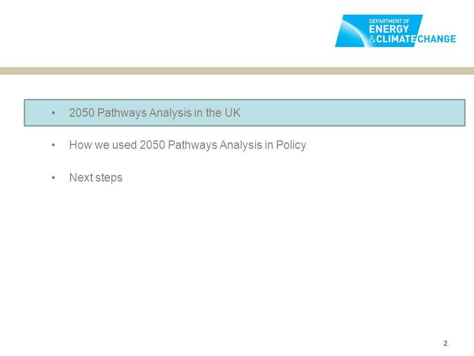 2050 Pathways Analysis in the UK How we used 2050 Pathways Analysis in Policy Next steps 2