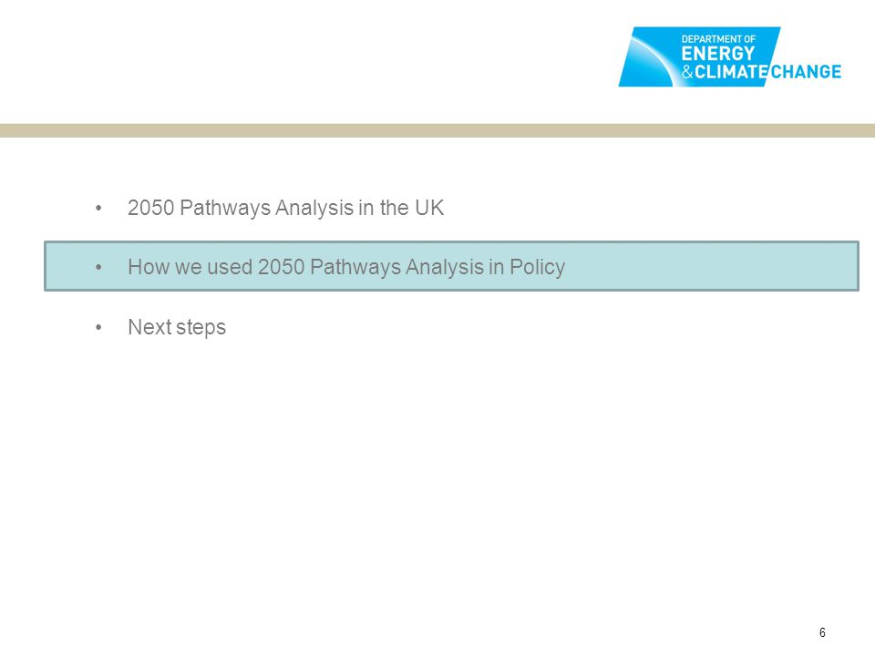 2050 Pathways Analysis in the UK How we used 2050 Pathways Analysis in Policy Next steps 6