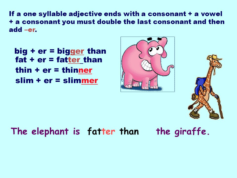 If a one syllable adjective ends with a consonant + a vowel + a consonant you must double the last consonant and then add –er. big + er = bigger than