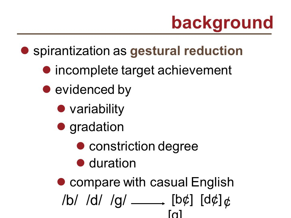 background spirantization as gestural reduction variability constriction degree duration compare with casual English incomplete target achievement evi
