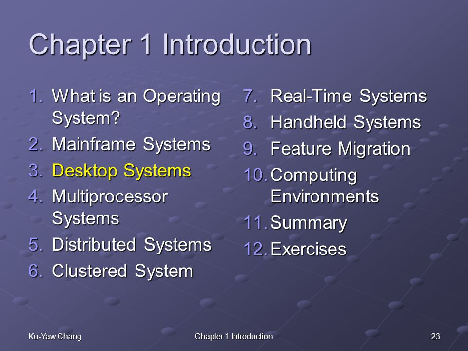 23Ku-Yaw ChangChapter 1 Introduction 1.What is an Operating System.