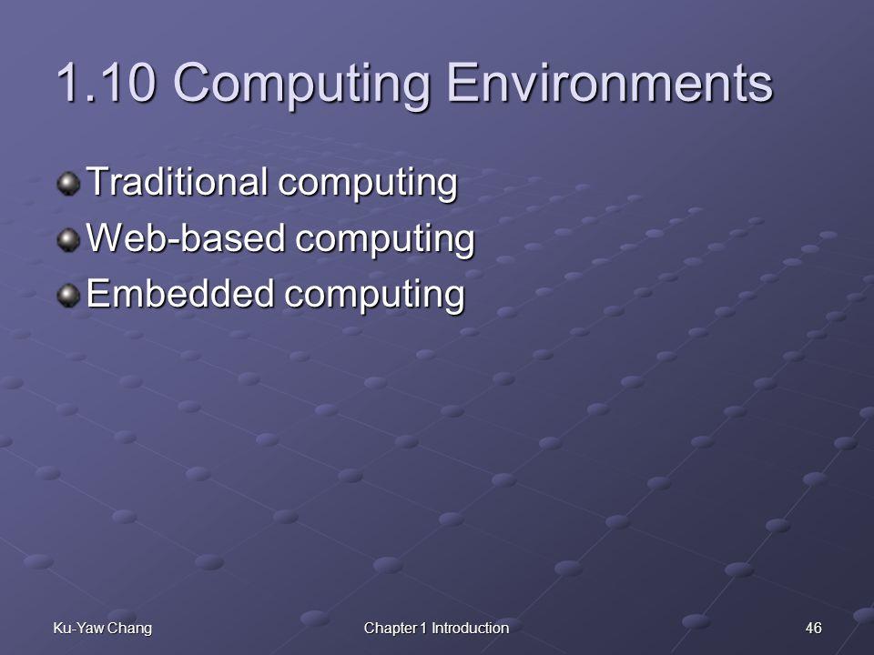 46Ku-Yaw ChangChapter 1 Introduction 1.10 Computing Environments Traditional computing Web-based computing Embedded computing