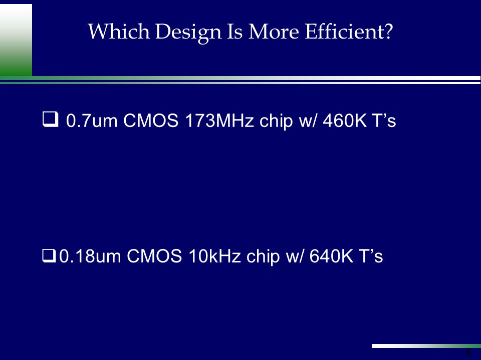 19 Design Style: Custom NVIDIA GeForceFXIntel Pentium-4 Design Style: ASIC 400MHz – 125M Transistors 2600MHz – 55M Transistors Effect of Architecture