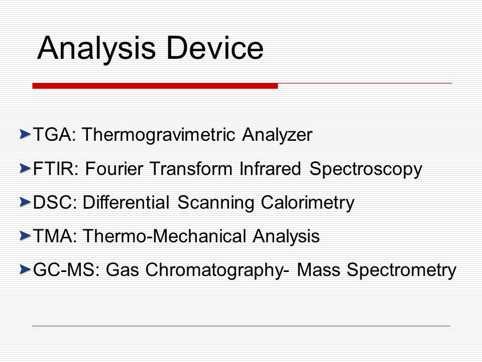 TGA: Thermogravimetric Analyzer FTIR: Fourier Transform Infrared Spectroscopy DSC: Differential Scanning Calorimetry TMA: Thermo-Mechanical Analysis GC-MS: Gas Chromatography- Mass Spectrometry Analysis Device