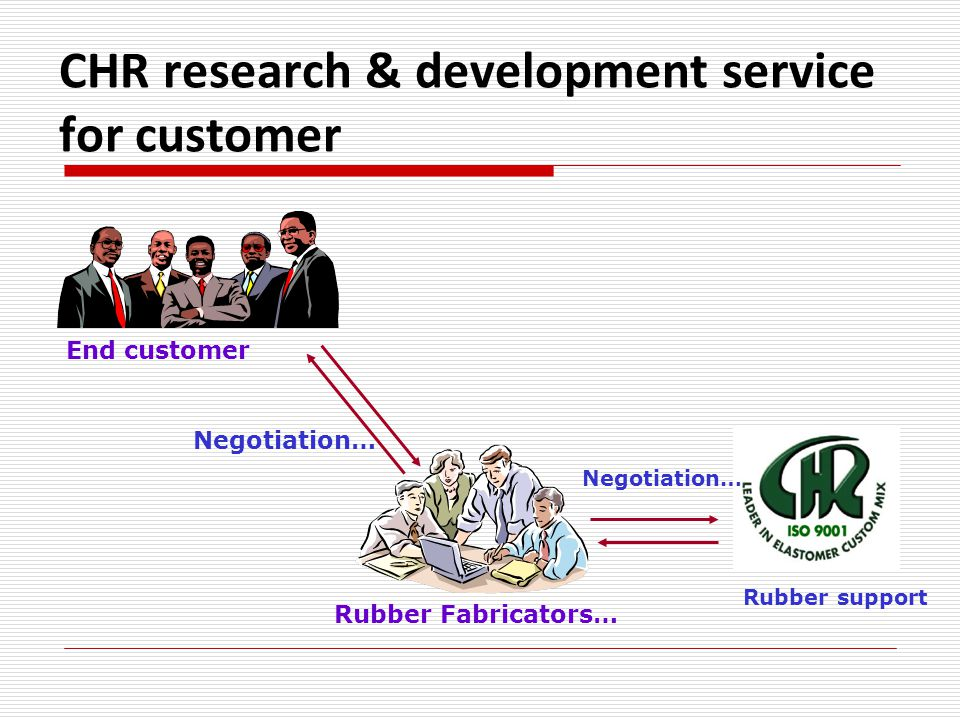 CHR research & development service for customer Rubber Fabricators… Negotiation… End customer Negotiation… Rubber support