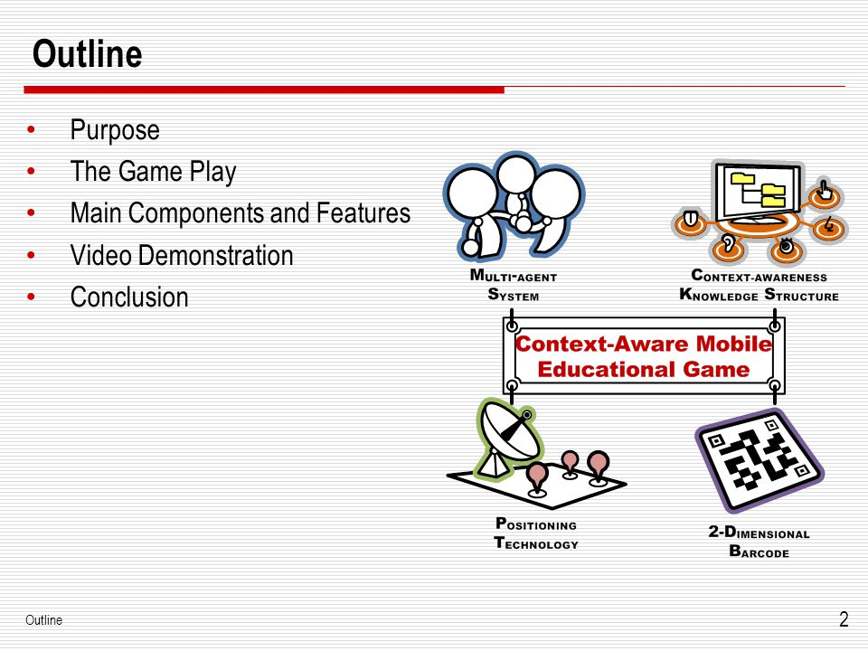 2 Outline Purpose The Game Play Main Components and Features Video Demonstration Conclusion