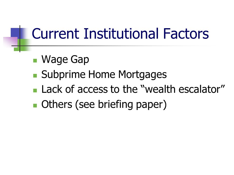"""Current Institutional Factors Wage Gap Subprime Home Mortgages Lack of access to the """"wealth escalator"""" Others (see briefing paper)"""