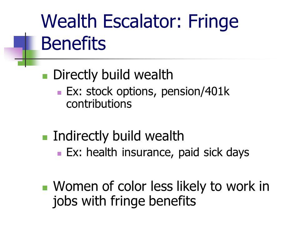 Wealth Escalator: Fringe Benefits Directly build wealth Ex: stock options, pension/401k contributions Indirectly build wealth Ex: health insurance, pa