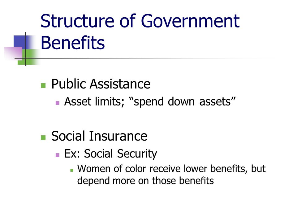 """Structure of Government Benefits Public Assistance Asset limits; """"spend down assets"""" Social Insurance Ex: Social Security Women of color receive lower"""