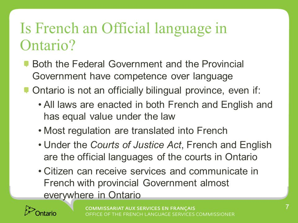 Is French an Official language in Ontario.