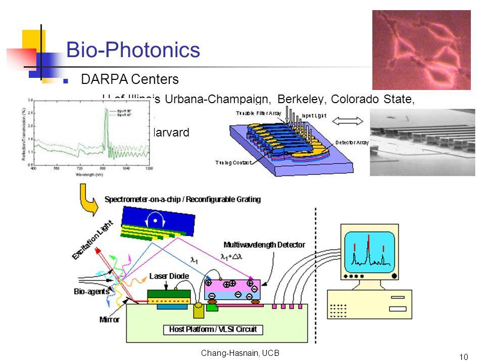 Chang-Hasnain, UCB 10 Bio-Photonics DARPA Centers U of Illinois Urbana-Champaign, Berkeley, Colorado State, Columbia, Cornell, Harvard