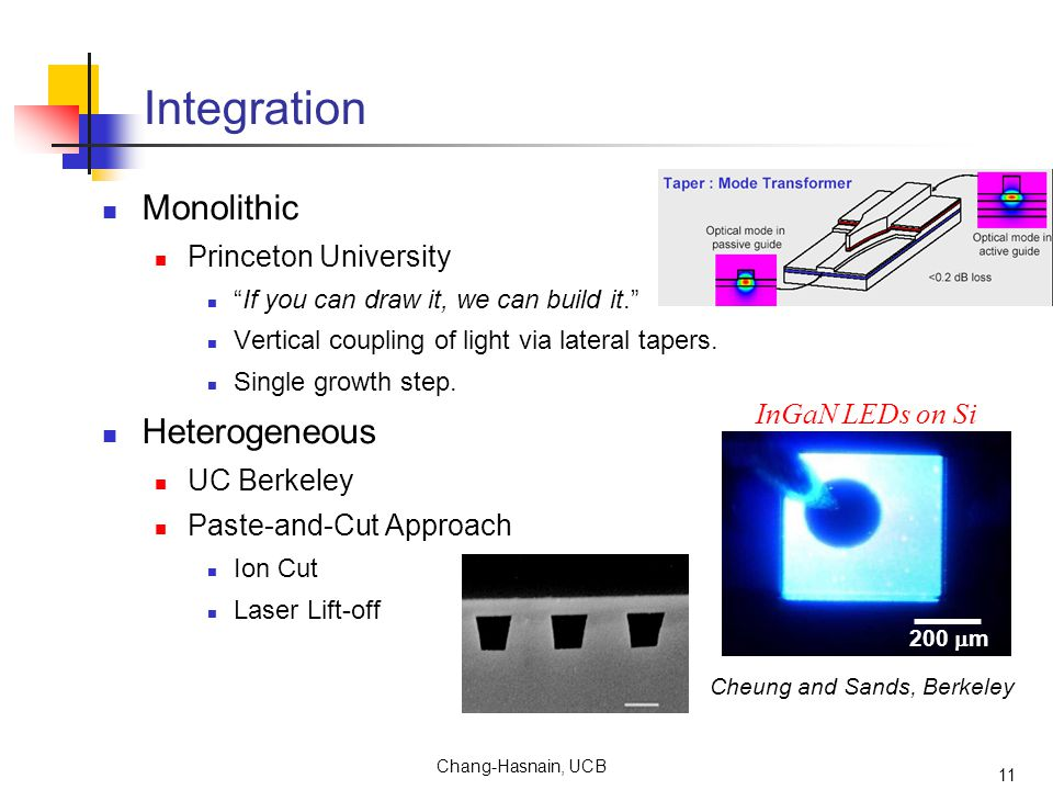 Chang-Hasnain, UCB 11 Integration Monolithic Princeton University If you can draw it, we can build it. Vertical coupling of light via lateral tapers.