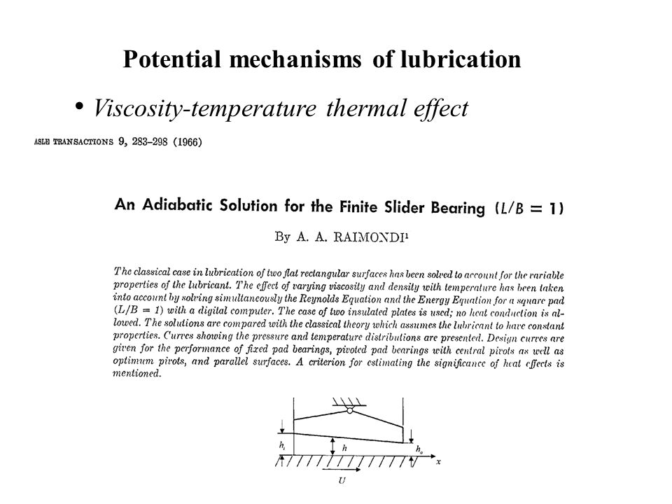 Potential mechanisms of lubrication Viscosity-temperature thermal effect