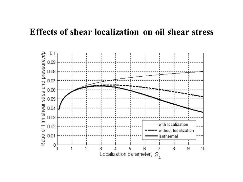 Effects of shear localization on oil shear stress