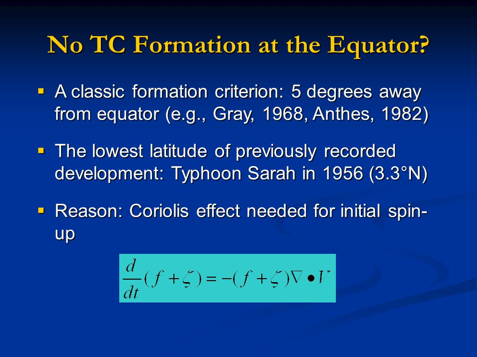  A classic formation criterion: 5 degrees away from equator (e.g., Gray, 1968, Anthes, 1982) No TC Formation at the Equator.