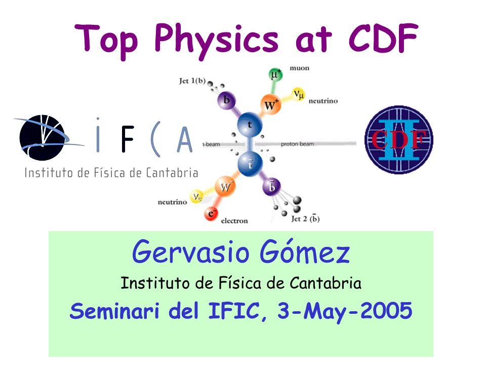 Gervasio Gomez/CDFIFIC, 3-May-200512 Soft Lepton Tagging semileptonic B hadron decay Tagging B-jets B hadrons are long-lived Vertex displaced tracks  Top events contain B hadrons  Only 1-2% of dominant W+jets background contains heavy flavor  Great S/B improvement Top Event Tagging Efficiency False Tag Rate (QCD jets) 55% 0.5% 15% 3.6%