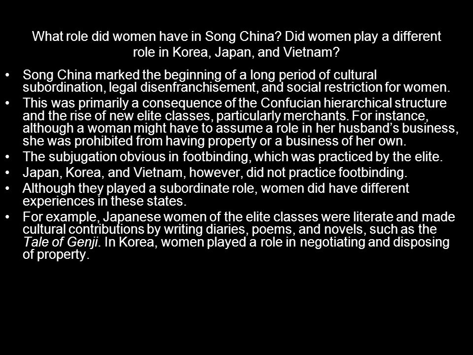 What role did women have in Song China.