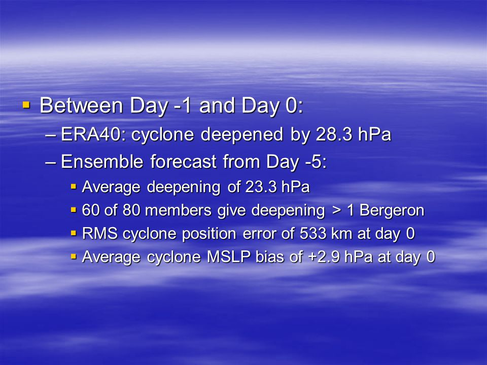  Between Day -1 and Day 0: –ERA40: cyclone deepened by 28.3 hPa –Ensemble forecast from Day -5:  Average deepening of 23.3 hPa  60 of 80 members give deepening > 1 Bergeron  RMS cyclone position error of 533 km at day 0  Average cyclone MSLP bias of +2.9 hPa at day 0