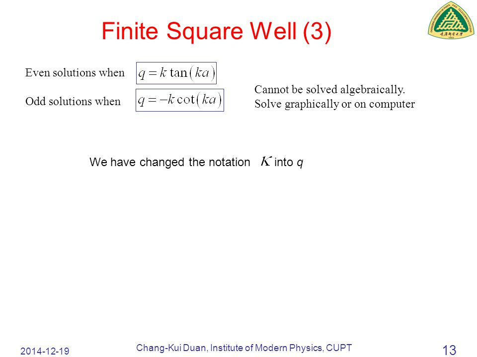 2014-12-19 Chang-Kui Duan, Institute of Modern Physics, CUPT 13 Finite Square Well (3) Cannot be solved algebraically.