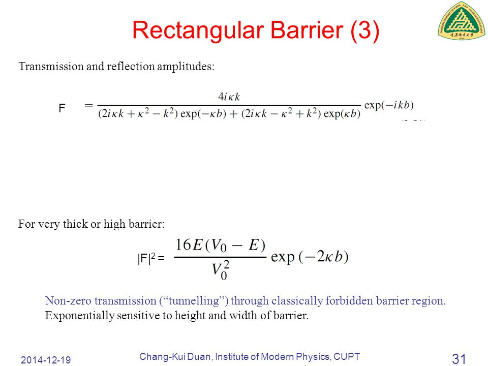 2014-12-19 Chang-Kui Duan, Institute of Modern Physics, CUPT 31 Rectangular Barrier (3) Transmission and reflection amplitudes: For very thick or high barrier: Non-zero transmission ( tunnelling ) through classically forbidden barrier region.