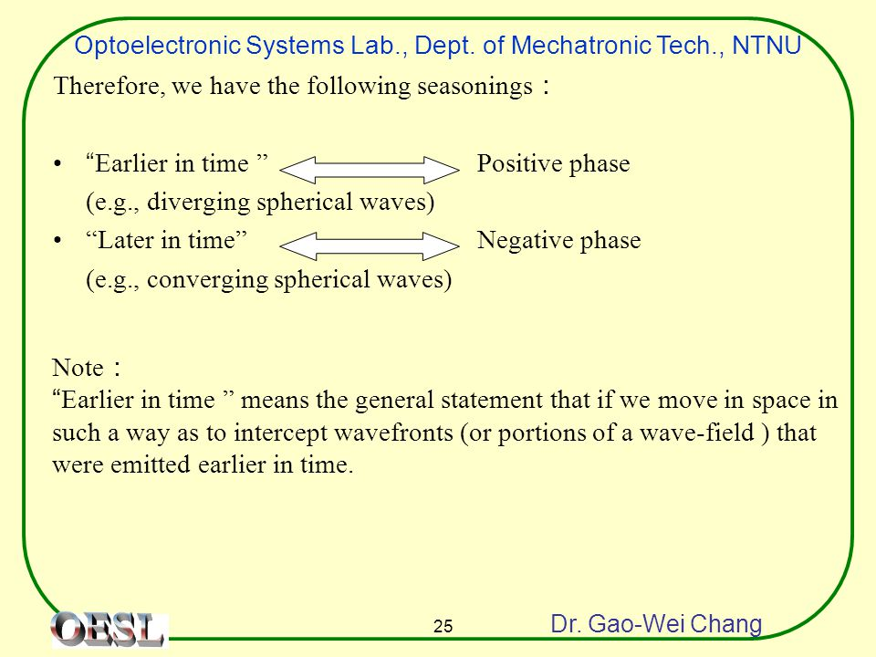 "Optoelectronic Systems Lab., Dept. of Mechatronic Tech., NTNU Dr. Gao-Wei Chang 25 Therefore, we have the following seasonings : ""Earlier in time "" Po"