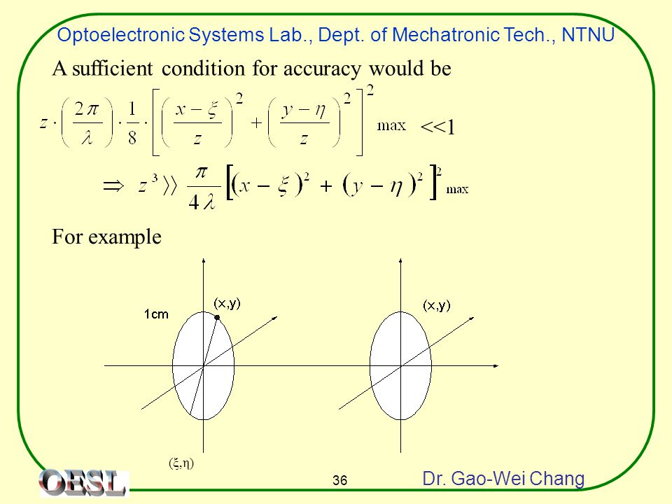 Optoelectronic Systems Lab., Dept. of Mechatronic Tech., NTNU Dr. Gao-Wei Chang 36 A sufficient condition for accuracy would be <<1 For example (ξ,η)