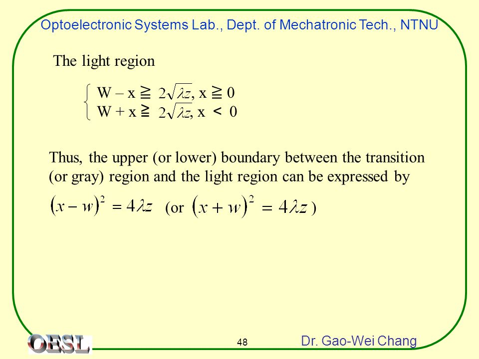 Optoelectronic Systems Lab., Dept. of Mechatronic Tech., NTNU Dr. Gao-Wei Chang 48 Thus, the upper (or lower) boundary between the transition (or gray