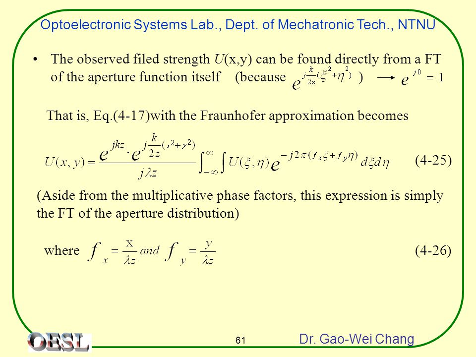 Optoelectronic Systems Lab., Dept. of Mechatronic Tech., NTNU Dr. Gao-Wei Chang 61 The observed filed strength U(x,y) can be found directly from a FT