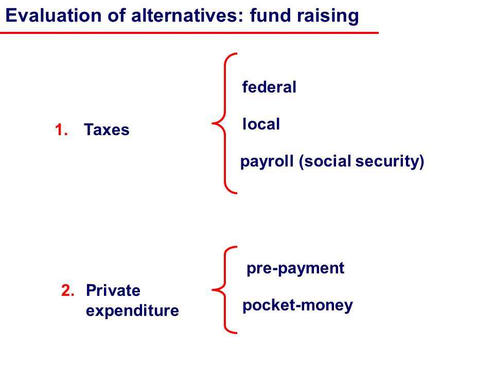 1. Taxes pocket-money payroll (social security) pre-payment Evaluation of alternatives: fund raising local federal 2.Private expenditure