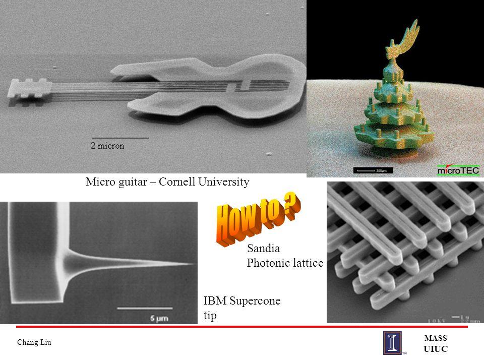 Chang Liu MASS UIUC Micro guitar – Cornell University IBM Supercone tip Sandia Photonic lattice