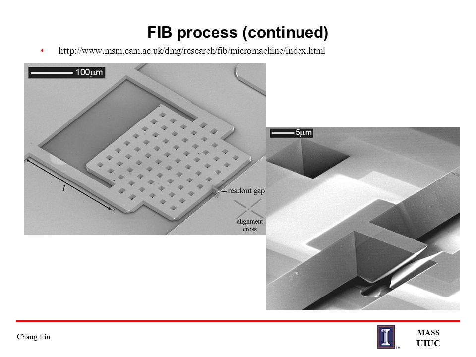 Chang Liu MASS UIUC FIB process (continued) http://www.msm.cam.ac.uk/dmg/research/fib/micromachine/index.html