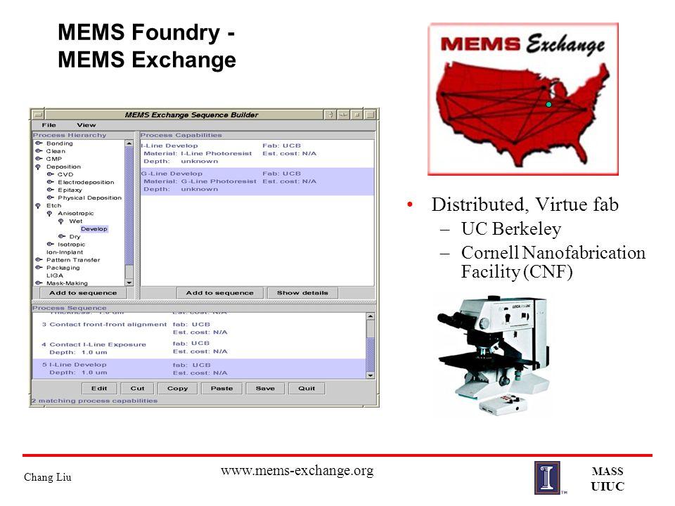 Chang Liu MASS UIUC MEMS Foundry - MEMS Exchange Distributed, Virtue fab –UC Berkeley –Cornell Nanofabrication Facility (CNF) www.mems-exchange.org