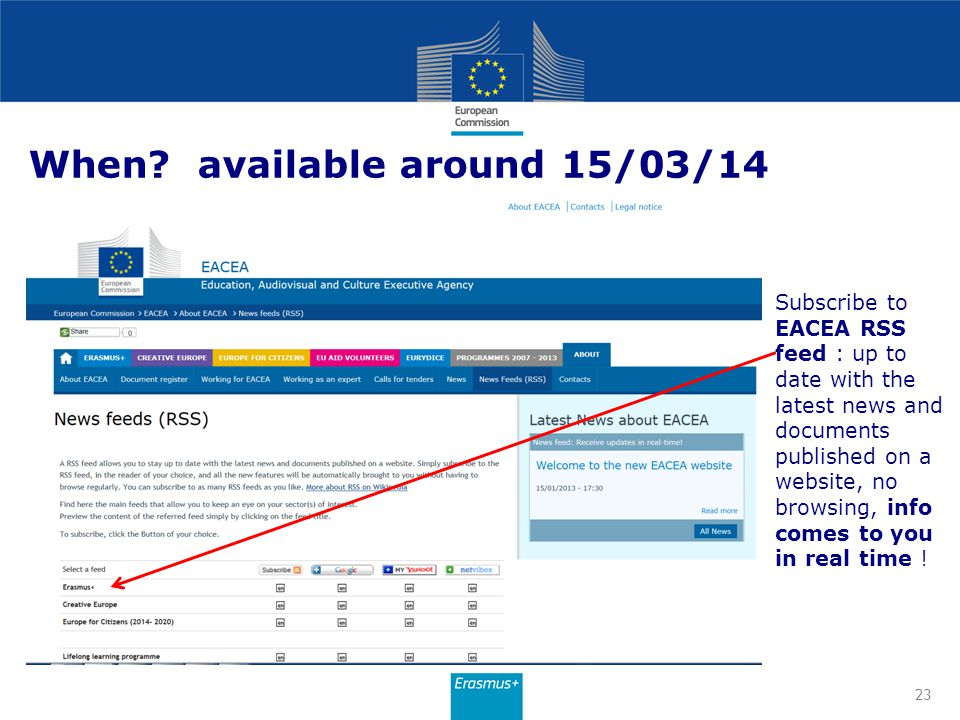 When? available around 15/03/14 Subscribe to EACEA RSS feed : up to date with the latest news and documents published on a website, no browsing, info