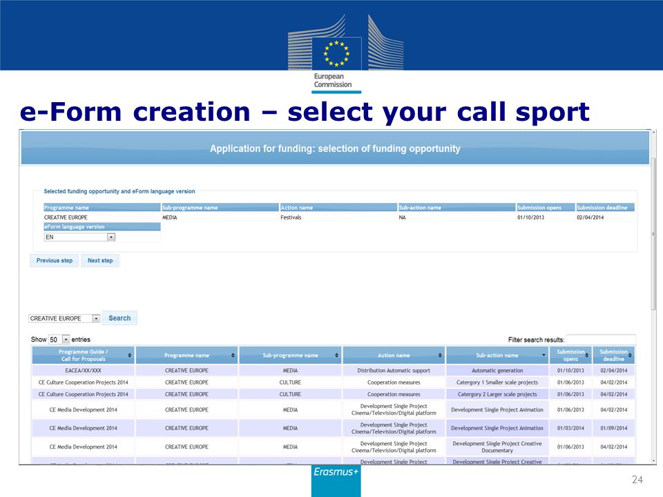 e-Form creation – select your call sport 24