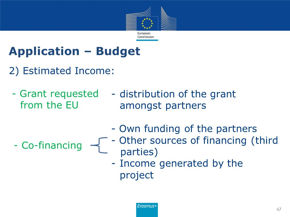 Application – Budget 2) Estimated Income: -distribution of the grant amongst partners - Own funding of the partners - Other sources of financing (thir