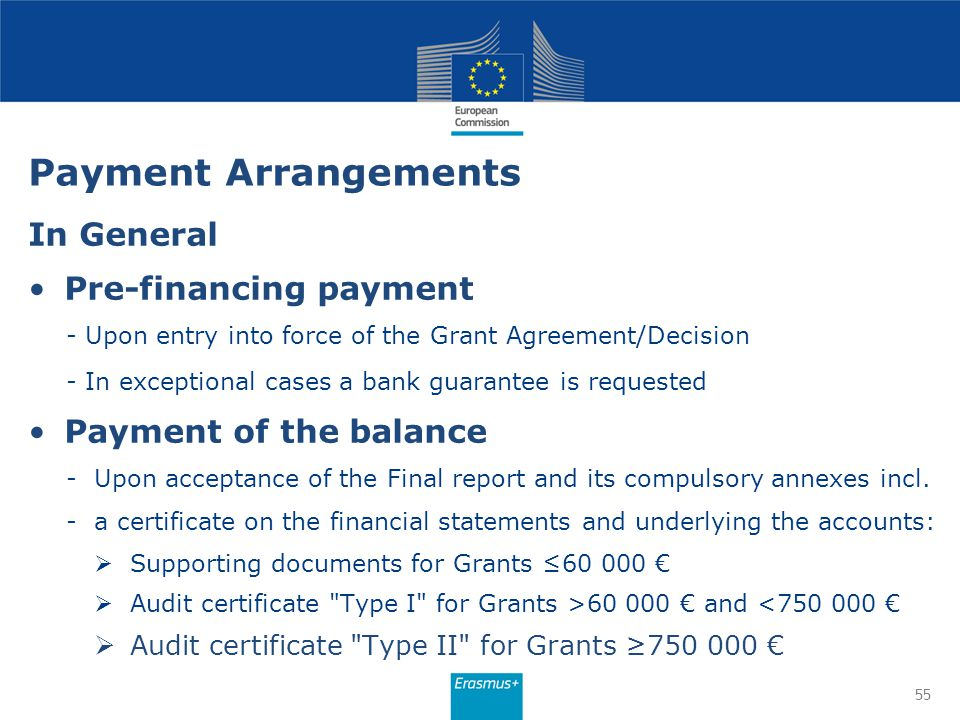Payment Arrangements In General Pre-financing payment - Upon entry into force of the Grant Agreement/Decision - In exceptional cases a bank guarantee