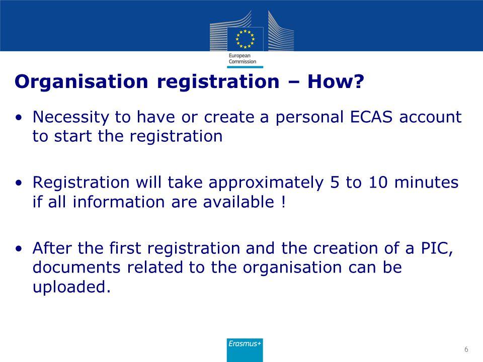 Organisation registration – When.