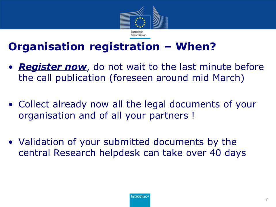 Participant s Portal home page http://ec.europa.eu/education/participants/portal/desktop/en/organisations/register.html 8