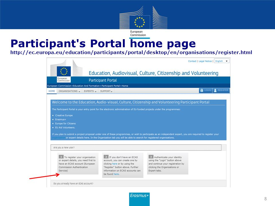 ECAS Account registration ECAS account creation is necessary to start the registration.