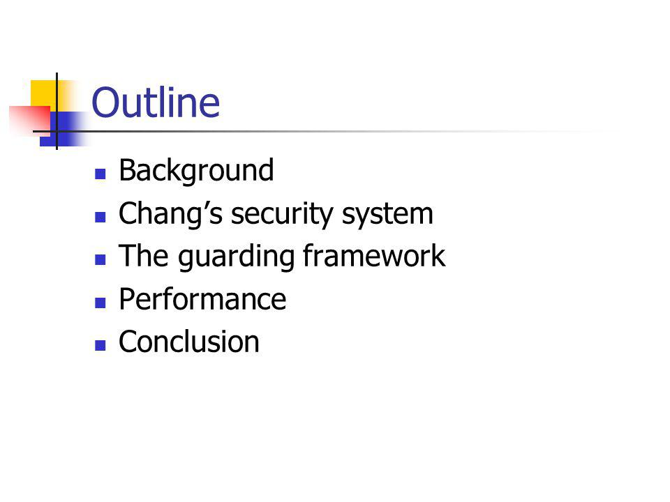 Outline Background Chang's security system The guarding framework Performance Conclusion