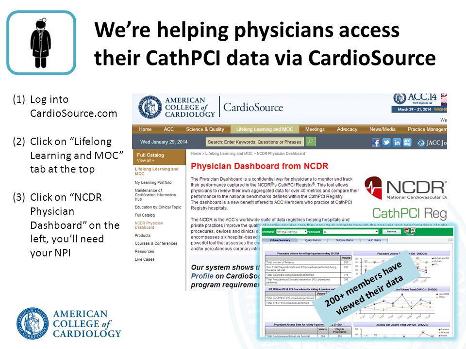 We're helping physicians with ABIM MOC Part 4 using NCDR data NCDR.13 ACC.13 NCDR.14 ACC.14 Snowmass Jan 2014 CV Summit Jan 2014 Faculty includes Joe Drozda, Dick Kovacs, David May, John Rumsfeld, Paul Varosy