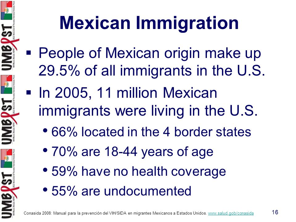 16  People of Mexican origin make up 29.5% of all immigrants in the U.S.