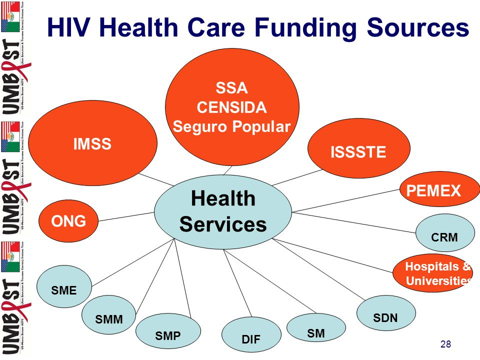 28 SSA CENSIDA Seguro Popular SME Health Services IMSS DIF SM SDN Hospitals & Universities CRM ISSSTE SMP SMM ONG PEMEX HIV Health Care Funding Sources