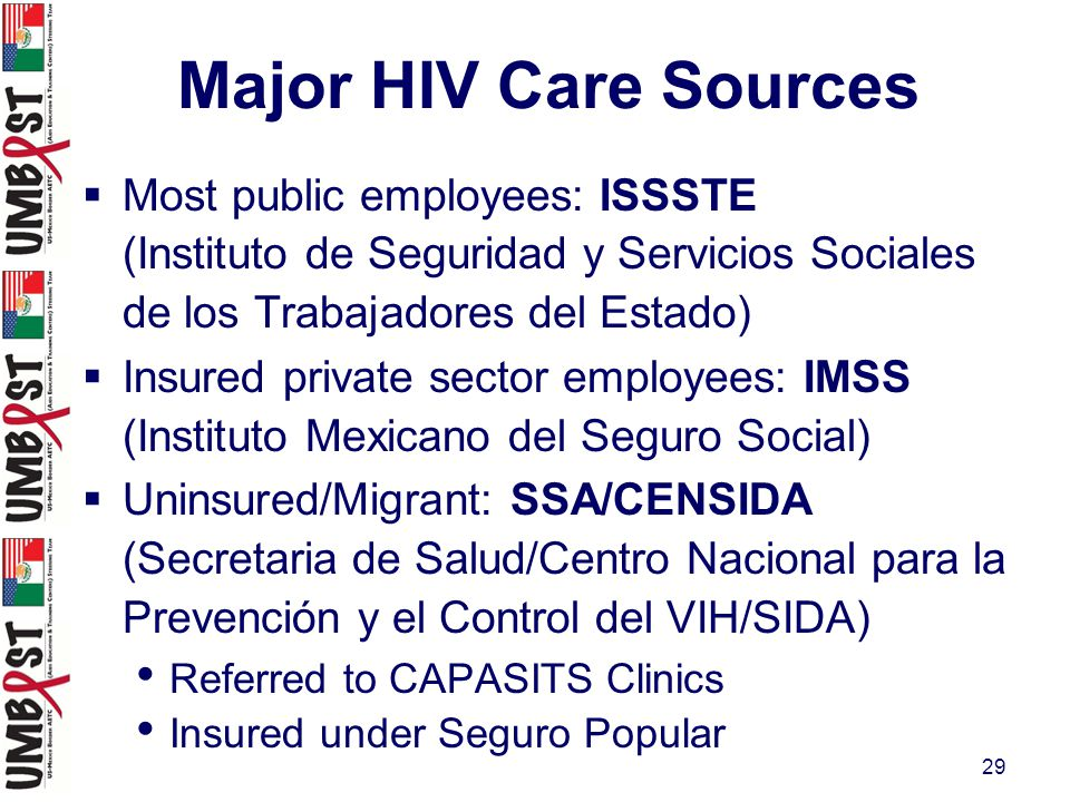 29 Major HIV Care Sources  Most public employees: ISSSTE (Instituto de Seguridad y Servicios Sociales de los Trabajadores del Estado)  Insured private sector employees: IMSS (Instituto Mexicano del Seguro Social)  Uninsured/Migrant: SSA/CENSIDA (Secretaria de Salud/Centro Nacional para la Prevención y el Control del VIH/SIDA) Referred to CAPASITS Clinics Insured under Seguro Popular