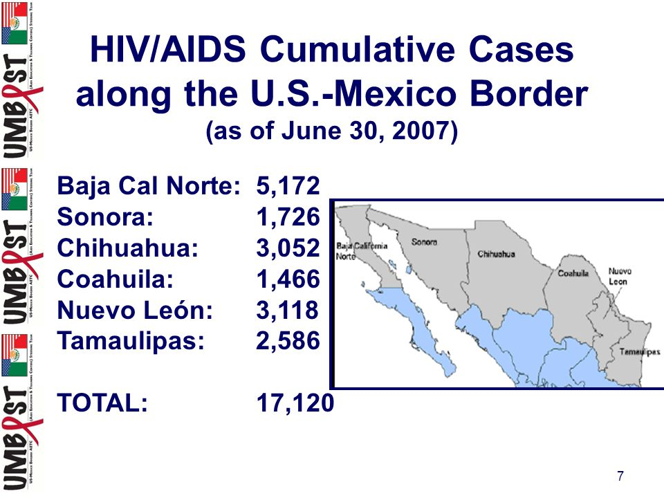 8 From: Update on HIV/AIDS in Mexico, June, 2007, Dr.